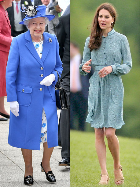 Kate Middleton, Queen Elizabeth II | Clad in a floral-print dress and royal blue coat by designer Stewart Parvin (who has designed for Her Majesty since 2000) and a hat by…