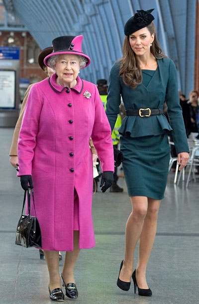 Kate Middleton, Queen Elizabeth II | The duo traveled in style when they boarded a train for a trip to Leicester, England, in March. While Kate looked polished in a peplum…