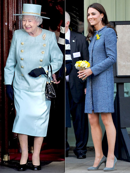 Kate Middleton, Queen Elizabeth II | When they paid a visit to famed department store Fortnum & Mason, the Queen tried the military trend on for size in an Angela Kelly…