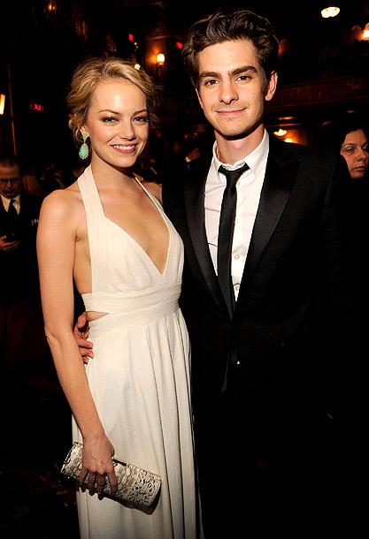 Emma Stone in Givenchy and Andrew Garfield at the 2012 Tony Awards in New York City