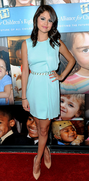 Selena Gomez in Versace at the Alliance For Children?s Rights 3rd Annual Celebrity Right To Laugh event in Los Angeles