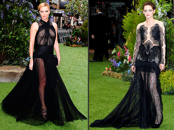 The actresses' strikingly similar gowns had fashion watchers doing a red carpet double take at the U.K. premiere of Snow White and The Huntsman .…