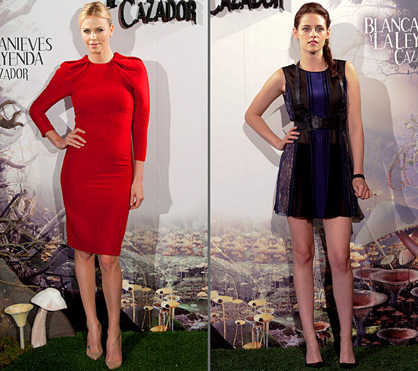 Snow White and the Huntsman, Charlize Theron, ... | At a press event in Madrid, Theron gave the press the bold shoulder in a tailored crimson dress by Giambattista Valli, while Stewart channeled her…
