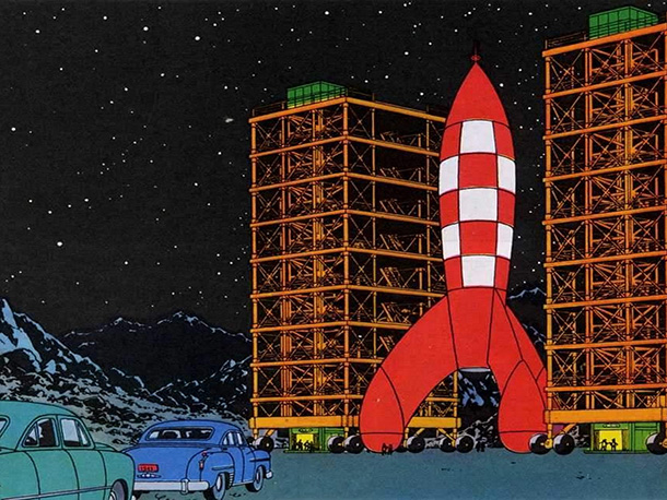 Coolest Feature: The prototypical pop-art starship can make the journey from the earth to the moon in just a few hours, thanks to a nuclear-reactor…
