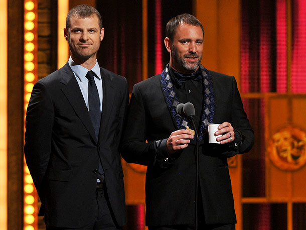 ''We who are the Broadway establishment,'' proclaimed a tea-sipping Trey Parker, flanked by Matt Stone, ''welcome this year's nominees for Best Musical, the young whipper-snappers…