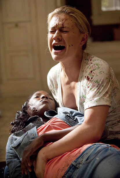 Anna Paquin, Rutina Wesley, ... | A pissed-off Debbie showed up at Sookie's house with a shotgun, and Tara jumped between the gun and Sookie. She was hit in the head…