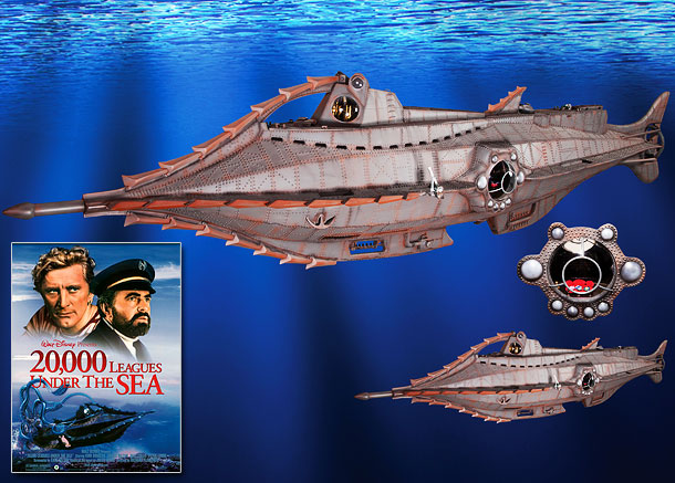 """A handcrafted 11-foot replica of the ill-fated submarine featured in Disney's 1954 adventure film and an """"anatomically correct"""" giant Humboldt squid with 9-foot long tentacles.…"""