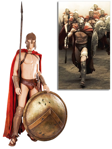 The codpiece, cape, sandals helmet, greaves and gauntlets worn by an actor — with abs of chiseled granite, no doubt — during the film's epic…