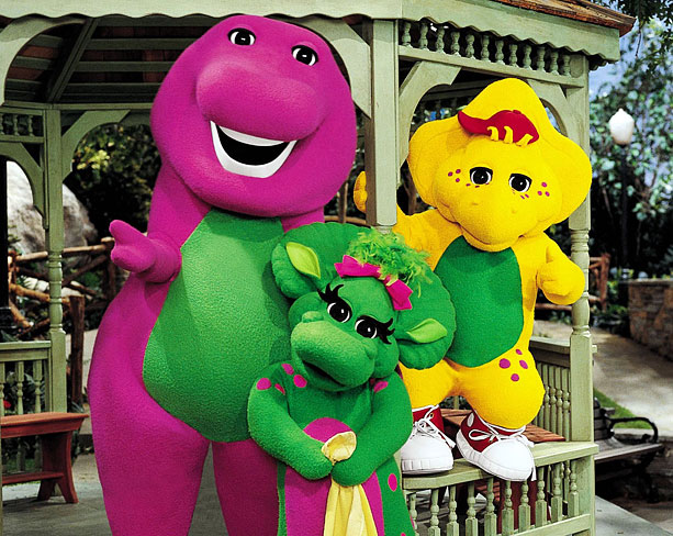 The friendly purple dinosaur is going strong nearly twenty years after his creation — but he's got some new friends. Kindergarten values are shown via…