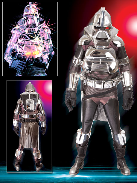 The signature look of the Battlestar baddie includes 12-piece suit of of chrome-plated plastic body armor, helmet, spandex under tunic and chain mail back skirt,…