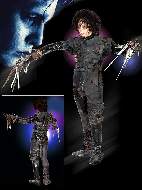 A leather and latex patchwork suit and resin scissor-hand gloves created by Oscar-winning costume designer Colleen Atwood. Bonus: The costume is worn by a full-size…