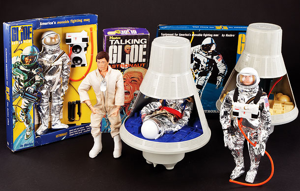Among the cooler items in this collection of 1960s action figures is a talking astronaut, a glow in the dark space capsule and an actual…