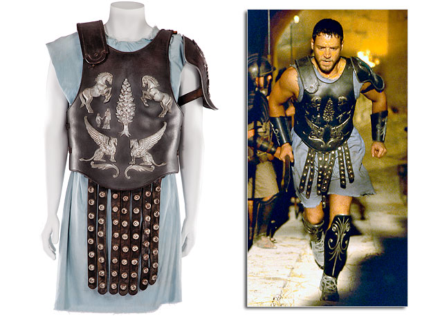 From the 2000 blockbuster that inspired the return of the sandals-and-toga movie, a leather breastplate adorned with silver-painted imagery and studded apron word by Russell…