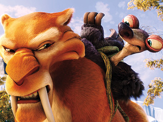 PREHISTORIC LAUGHS Ice Age 's predictable plot is slightly improved by a cast of new characters