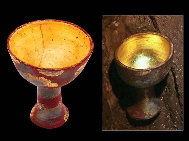 Prop maker Paul Robins weathered a fiberglass/resin cup and added a layer of gold leaf to create The Holy Grail, which Indy uses to save…