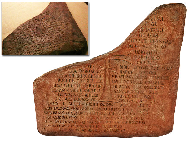 Though Indy deciphers an important message on this weathered plaster tile, the actual inscription is a combination of Latin Psalms, re-translated scripture and passages made…