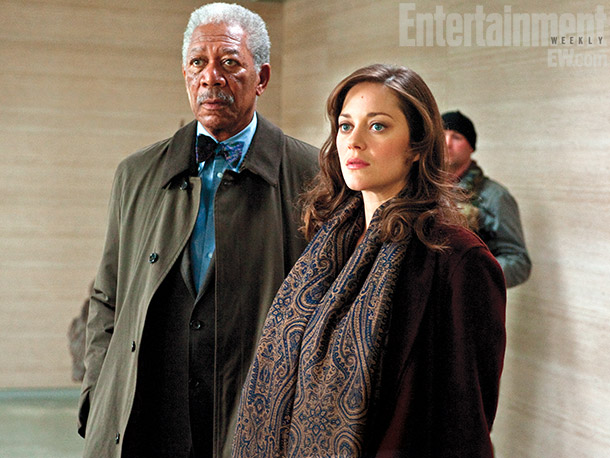 The Dark Knight Rises | Trusted advisor and tech innovator Lucius Fox (Morgan Freeman, left) helps Wayne liberate his hometown, while new love interest Miranda Tate (Marion Cotillard, right) complicates…