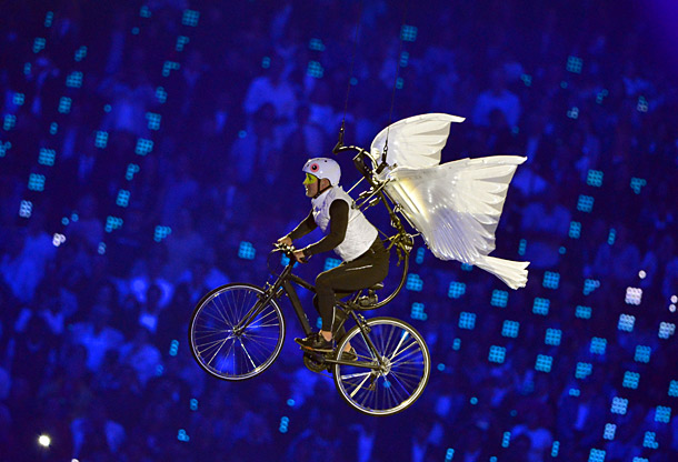 Bob Costas thought this moment was a reference to E.T.: The Extraterrestrial . But to this anglophile's eyes, the flying dove-bike bears a closer resemblance…