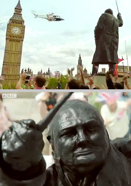 A smiling Daniel Craig is one thing, but the whole James Bond sequence officially overdosed on whimsy when a digital Winston Churchill ghost statue offered…