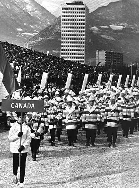 Even in black and white photos from the 1968 Winter Games in Grenoble, the iconic Hudson's Bay Company color striped coats worn by Team Canada…