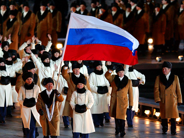 Team Russia turned it out in 2002, making an entrance at Salt Lake City's Rice-Eccles Olympic Stadium in fur-trimmed overcoats and traditional ushanka hats.