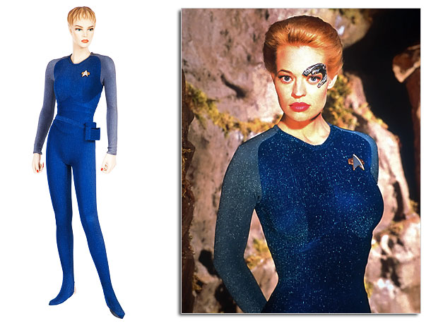 This royal blue and great lame bodysuit hugged actress Jeri Ryan in all the right places. No wonder she was one of the most popular…