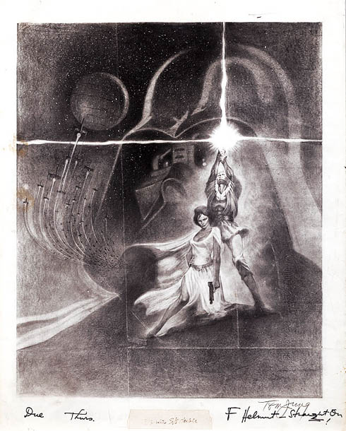 This conceptual pencil drawing for the most famous Star Wars poster is signed by artist Tom Jung, who also created posters for films like Doctor…