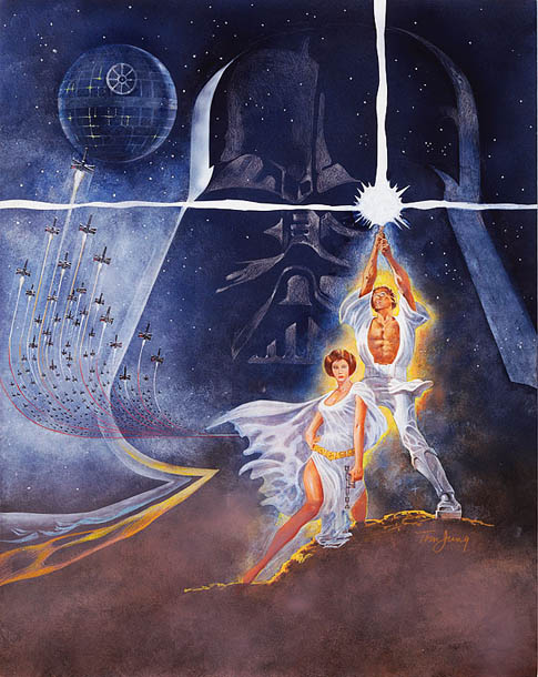 Artist Tom Jung's concept art for the 1977 Star Wars poster in gouache — an opaque paint that's similar to watercolor. Auction estimate: $20,000 -…