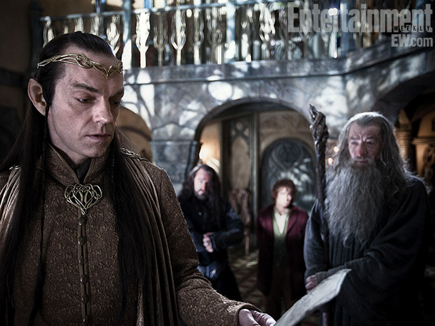 Hugo Weaving | Elrond (left), the ruler of Rivendell, played by Hugo Weaving, is one of a handful of characters from the Rings trilogy who appear in The…