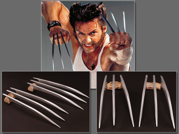 Jackman brandished these flashy plastic-and-resin blade ''hero'' claws during close-ups and non-stunt shots. Auction estimate: $20,000 - $30,000