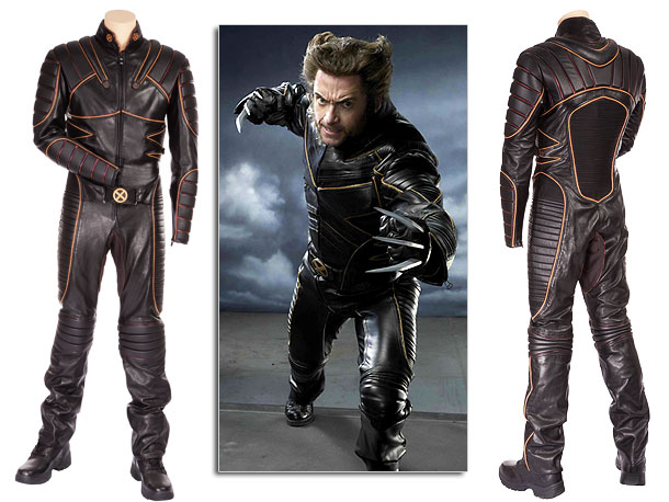 Hugh Jackman looked pretty sharp in this padded leather jumpsuit with copper and yellow-piping and X motif belt buckle. Auction estimate: $30,000 - $50,000 For…