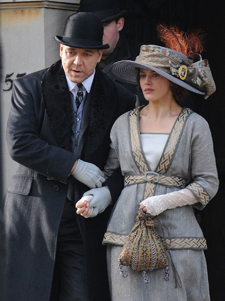 Dec. 5: Russell Crowe and Jessica Brown Findlay film ''Winter's Tale'' in New York (photo taken on Dec. 4)