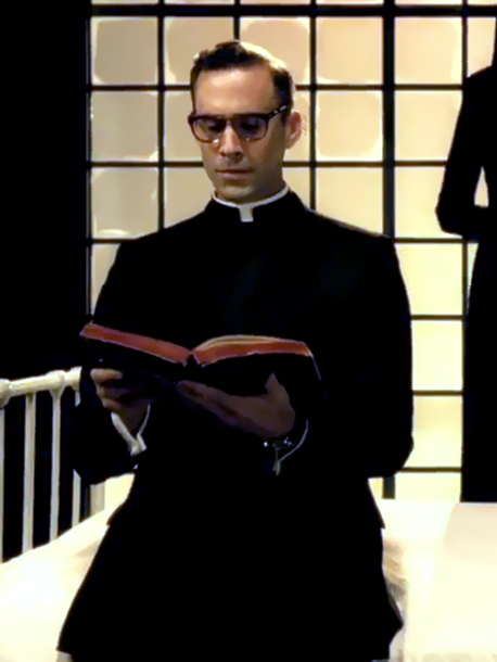 American Horror Story | Sister Jude's superior finds himself on the receiving end of the nun's affections (and fantasies), but he's not entirely innocent. Not unlike the red lingerie…