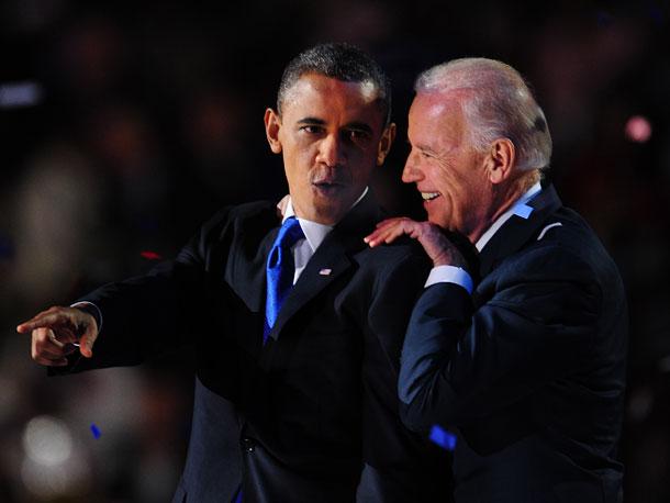 Nov. 7: President Barack Obama and Vice President Joe Biden celebrate election victory in Chicago