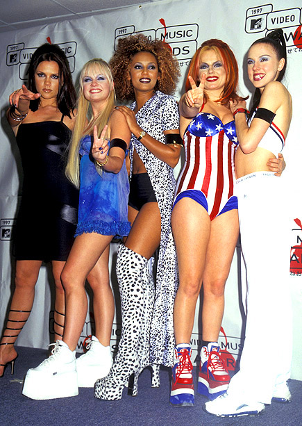 Emma Bunton, Spice Girls, ... | The Girls performed ''Say You'll Be There'' but presented a medley of bad fashion at the 1997 MTV VMAs in New York City.