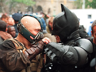 THE DARK KNIGHT RISES Tom Hardy and Christian Bale