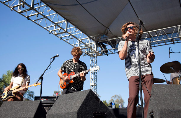 Bassist Anthony Braun Perry, lead guitarist Matt Taylor, and vocalist Brooks Nielsen of The Growlers
