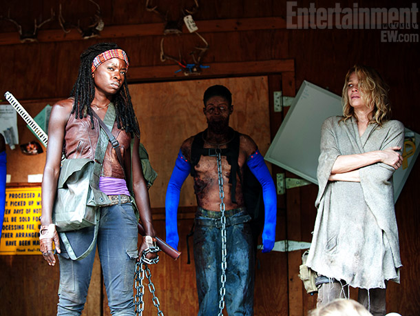 The Walking Dead | One of Michonne's many badass attiributes: She keeps armless, jawless zombies on chains as pets (including one played here by actor Thesay West). As season…
