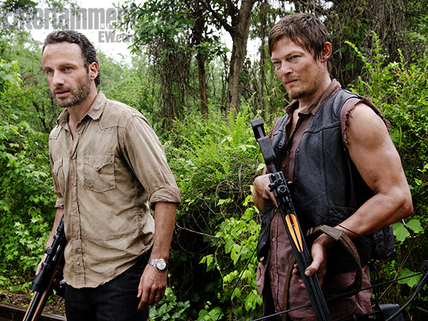 The Walking Dead | Elsewhere, we pick back up with the wandering survivors led by Rick Grimes (Andrew Lincoln, left). One big season-starting question: How will the group —…