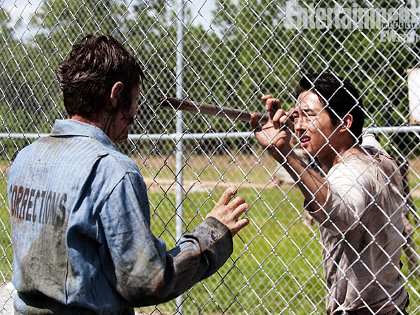 The Walking Dead | Glenn takes a wait-and-slam-this-bar-into-a-zombie's-skull approach to clearing out the prison of walkers. Never a moment's rest on The Walking Dead .
