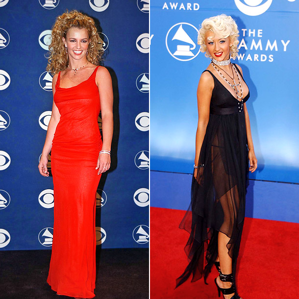 Now that's more like it! At the 2002 Grammys, Spears rocked a simple red column gown and Aguilera worked a retro-inspired sheer sheath and finger…