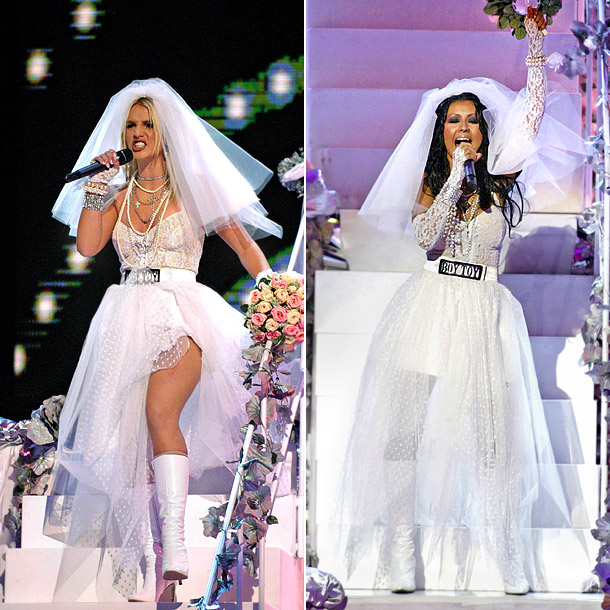 """The ladies wore matching wedding gowns when they joined Madonna onstage at the 2003 MTV Video Music Awards to perform """"Like A Virgin."""" Who looked…"""