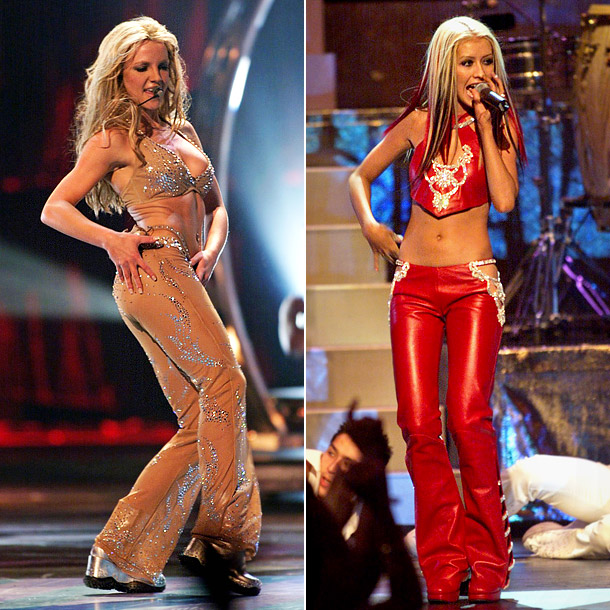Then 18 year-old Spears was the talk of the night when she ripped off her tear-away tuxedo to reveal a nude bodysuit at the 2000…