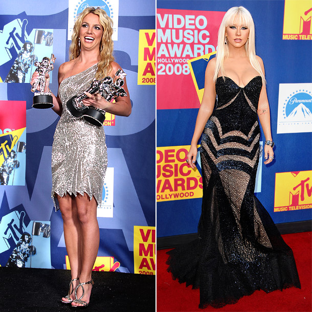 The ladies used the spider web style to different effect at the 2008 MTV Video Music Awards. Spears' one-shoulder silver number was short and sexy,…