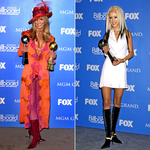 """Perhaps """"Who was worst dressed?"""" is the better question here. At the 2000 Billboard Music Awards, Spears was big pimpin' in her ankle-length trench and…"""