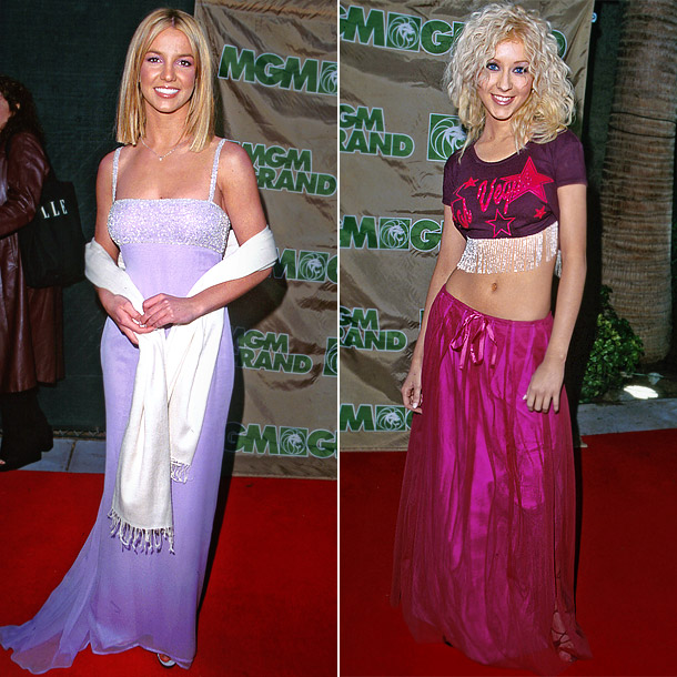 At the 10th Annual Billboard Music Awards in 1999, Spears looked ready for the prom in a lavender gown and white pashmina, while Aguilera looked…