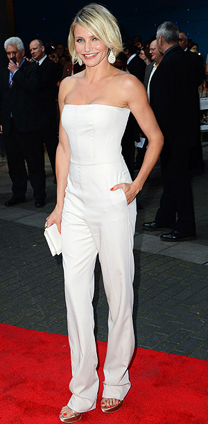 Bronwyn says : A designer jumpsuit? At the London premiere of What to Expect When You're Expecting , Cameron Diaz made wearing a Stella McCartney…