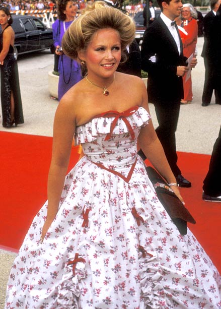 Charlene Tilton | Dallas ? Charlene Tilton served as a presenter at the 1984 ceremony wearing this bow-dazzled, floral print dress—and with her hair coiffed into an atrocious…