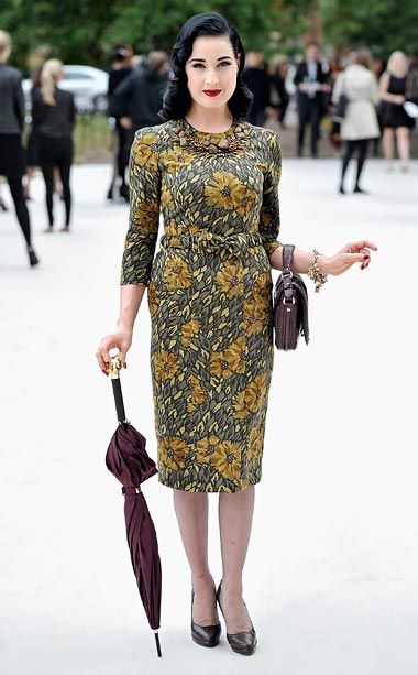 Dita von Teese at the Burberry Prorsum show at London Fashion Week
