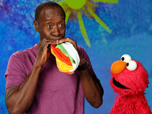 Don Cheadle, Sesame Street | The House of Lies star joked about how he found out which puppet he'd be teaching the word ''inflate.'' Said the Oscar nominee, ''I said,…